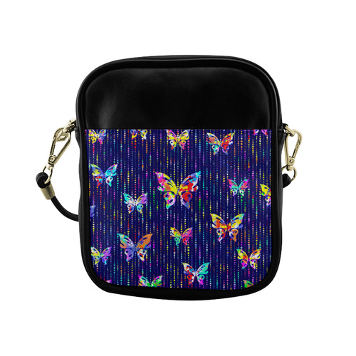 Butterflies On Dotted Lines Pattern Sling Bag (Model 1627)