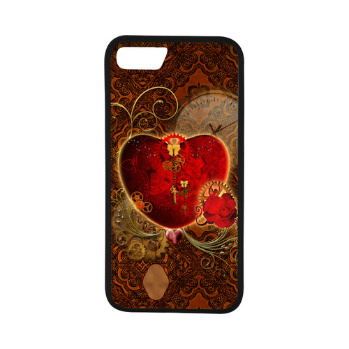 "Steampunk, valentines heart with gears Rubber Case for iPhone 7 (4.7"")"