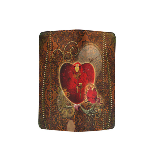 Steampunk, valentines heart with gears Men's Clutch Purse (Model 1638)