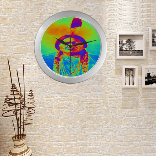Sitting Bull Silver Color Wall Clock