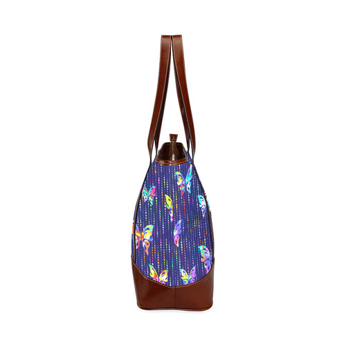 Butterflies On Dotted Lines Pattern Tote Handbag (Model 1642)