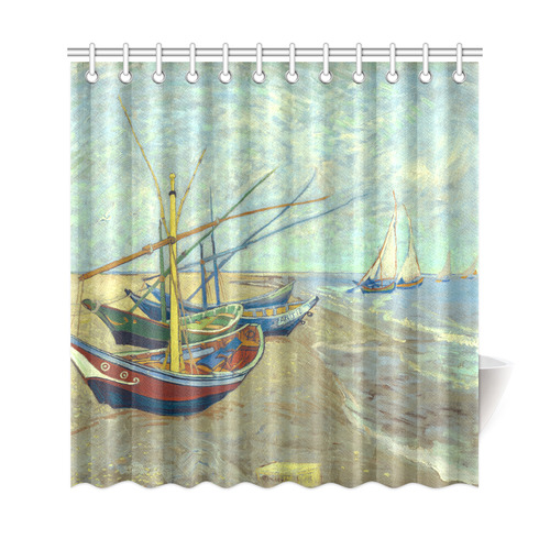 Vincent van Gogh Fishing Boats Beach Shower Curtain 69\