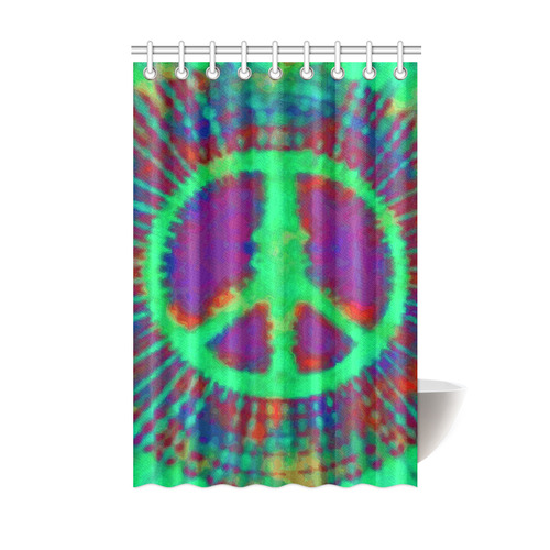 Psychedelic Tie Dye Green Peace Sign Shower Curtain ...