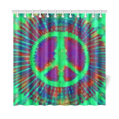 Exceptionnel Psychedelic Tie Dye Green Peace Sign Shower Curtain ...