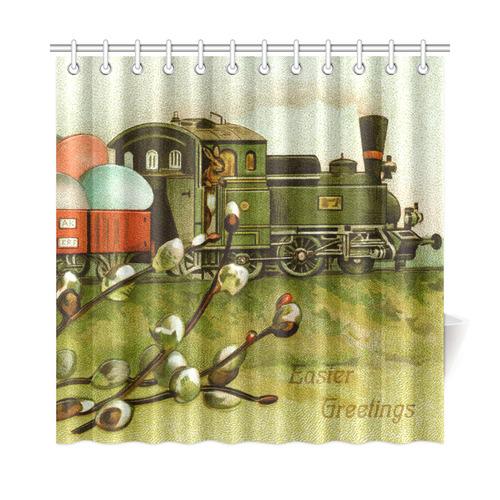 Vintage Easter Egg Train Bunnies Shower Curtain 72\