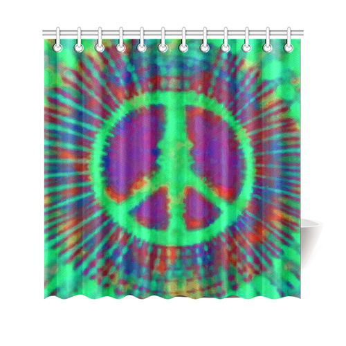Psychedelic Tie Dye Green Peace Sign Shower Curtain