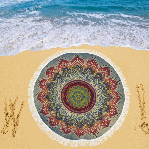 """Folk Art MANDALA - dirty grunge blue red Circular Beach Shawl 59""""x 59"""""""