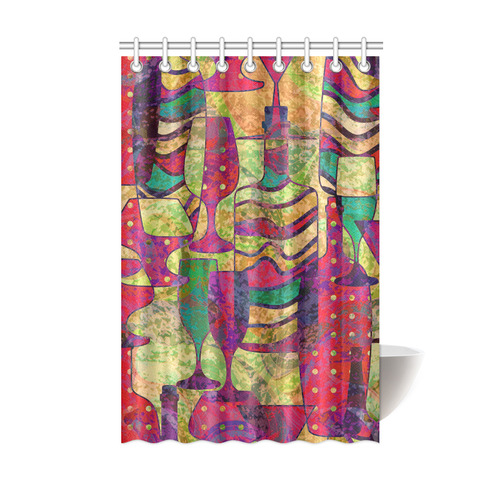 Colorful Abstract Bottles And Wine Glasses Shower Curtain 48x72