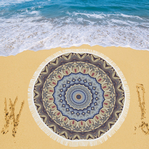 "Soft and Warm Mandala Circular Beach Shawl 59""x 59"""