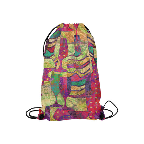 """Colorful Abstract Bottles and Wine Glasses Small Drawstring Bag Model 1604 (Twin Sides) 11""""(W) * 17.7""""(H)"""