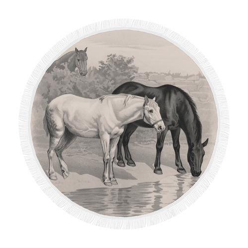 "3 horses B&W vintage art, by JamColors Circular Beach Shawl 59""x 59"""