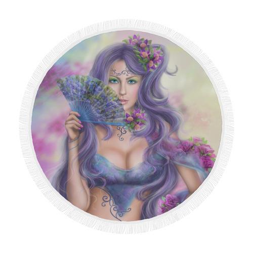 "Beautiful Girl Fantasy with Fan Circular Beach Shawl 59""x 59"""