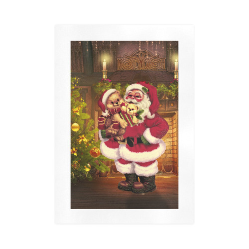 A cute Santa Claus with many christmas gifts Art Print 16''x23''