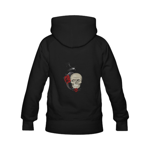 Gothic Skull With Raven And Roses Men's Classic Hoodies (Model H10)