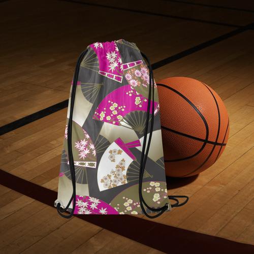 "Beautiful Floral Fans Vintage Japanese Sakura Small Drawstring Bag Model 1604 (Twin Sides) 11""(W) * 17.7""(H)"