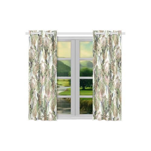 "Vintage Beige Romantic Flowers Kitchen Curtain 26"" X 39"" (Two Piece)"