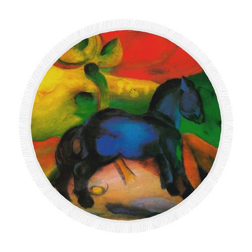 "Little Blue Horse by Franz Marc Circular Beach Shawl 59""x 59"""