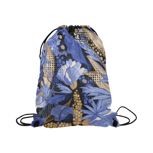 "Beautiful Vintage Blue Brown Floral Pattern Large Drawstring Bag Model 1604 (Twin Sides)  16.5""(W) * 19.3""(H)"