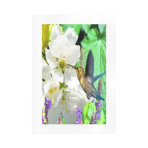 Peach Blossom Hummingbird Art Print 16''x23''