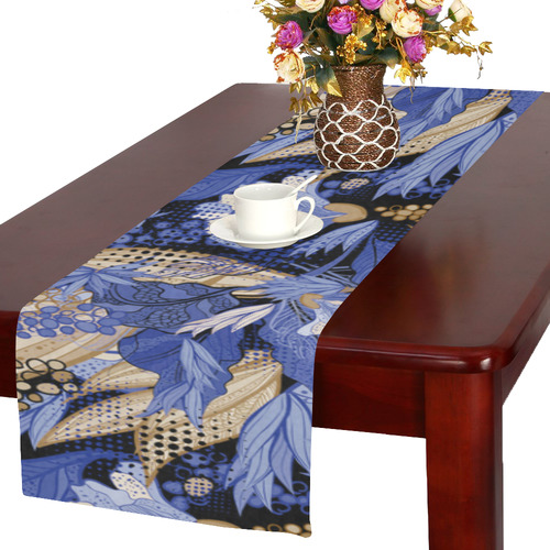 Beautiful Vintage Blue Brown Floral Pattern Table Runner 16x72 inch