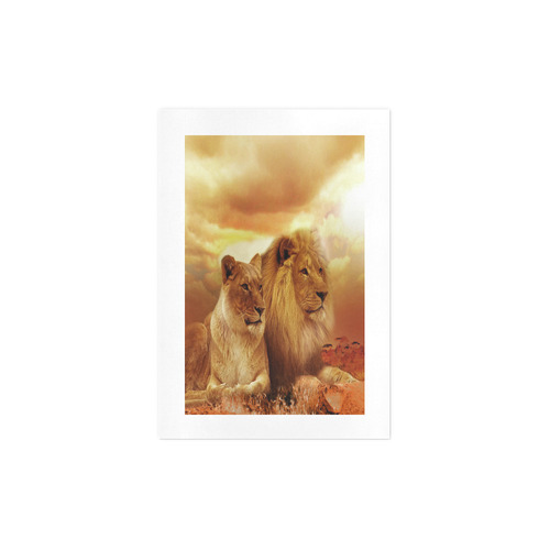 Lion Couple Sunset Fantasy Art Print 7''x10''