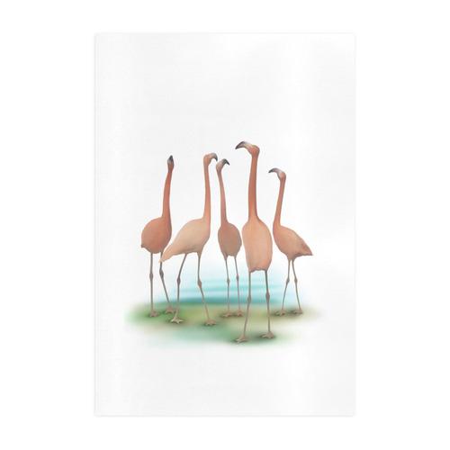Flamingo Mingle, watercolor, birds Art Print 19''x28''
