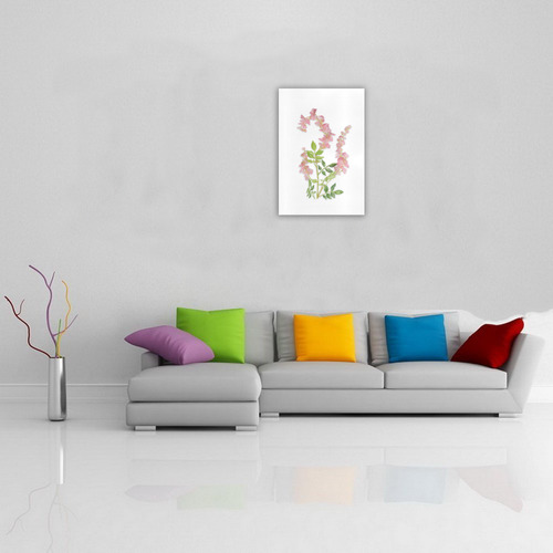 Pink tiny flower w shadow - floral watercolor Art Print 19''x28''