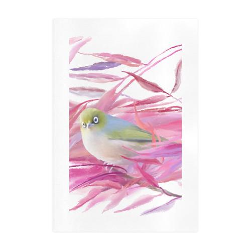 Cute little SilverEye, angry bird watercolor Art Print 19''x28''