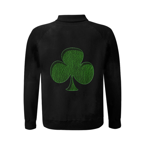Leather-Look Irish Clover Men's Baseball jacket (Model H12)