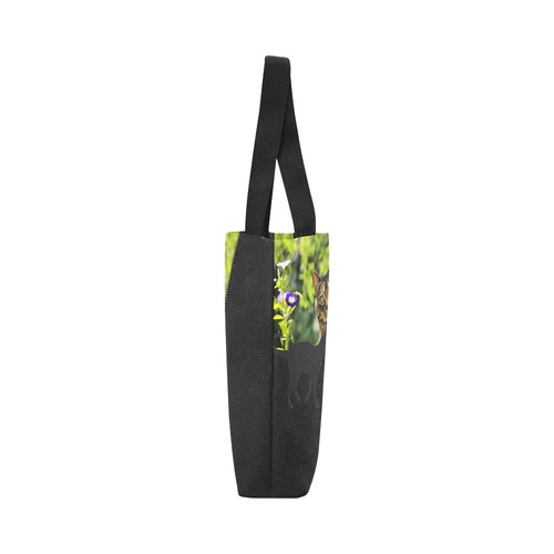 ZIPPER CUTE CAT FLOWERS Canvas Tote Bag (Model 1657)