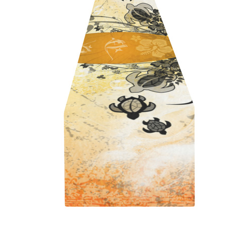 Surfboard with turtles and flowers Table Runner 16x72 inch
