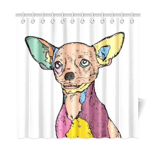 Chihuahua Popart By Nico Bielow Shower Curtain 72x72