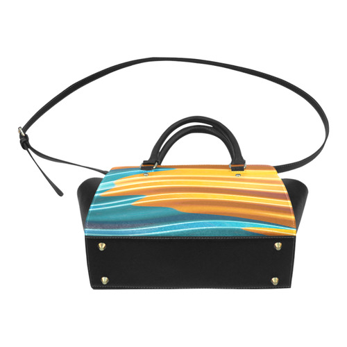 Orange Teal Modern Wave Fractal Art Classic Shoulder Handbag (Model 1653)