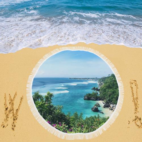 "Ayang Yang Beach Bali by Asritara Circular Beach Shawl 59""x 59"""