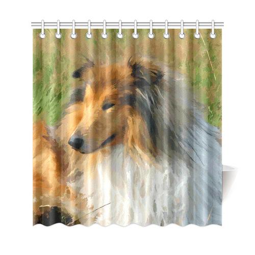 """Collie Dog in Grassy Field Shower Curtain 69""""x72"""""""