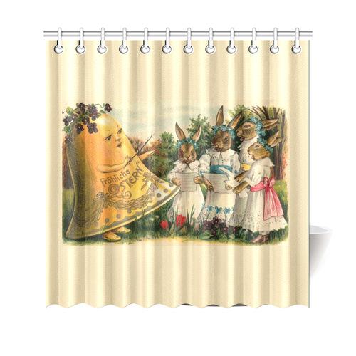 Happy Easter Vintage German Bunny Chorus Shower Curtain 69x70