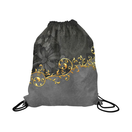 "Vintage design in grey and gold Large Drawstring Bag Model 1604 (Twin Sides)  16.5""(W) * 19.3""(H)"