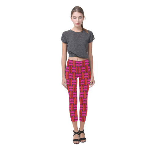 Red Pink Basket Weave Capri Legging (Model L02)
