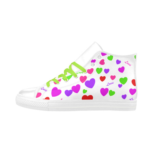 Love And Hearts Aquila High Top Microfiber Leather Women's Shoes (Model 032)