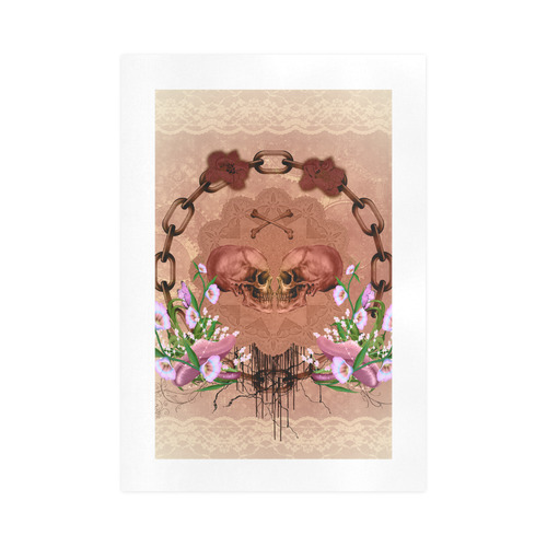 Awesome skulls with flowres Art Print 16''x23''