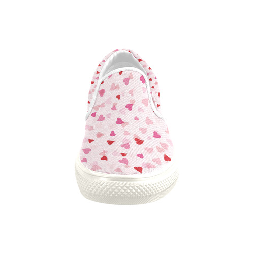 Valentine Hearts Slip-on Canvas Shoes for Kid (Model 019)