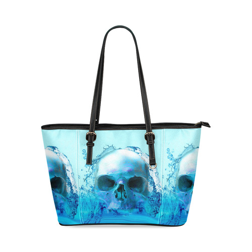 Skull in Water Leather Tote Bag/Large (Model 1640)