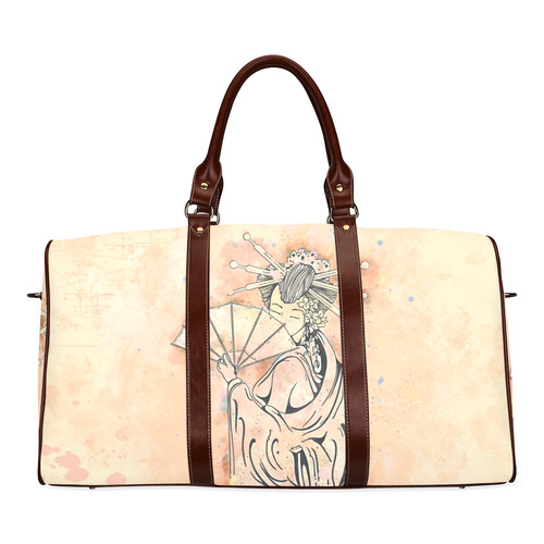 Vintage japanese beautiful geisha girl Waterproof Travel Bag/Large (Model 1639)