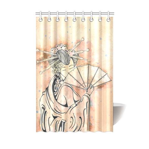 Vintage Japanese Beautiful Geisha Girl Shower Curtain 48x72