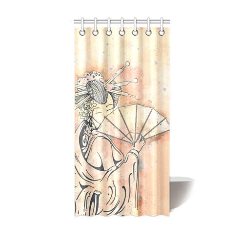 Vintage Japanese Beautiful Geisha Girl Shower Curtain 36x72