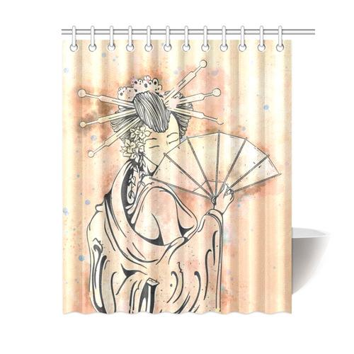 Vintage Japanese Beautiful Geisha Girl Shower Curtain 60x72