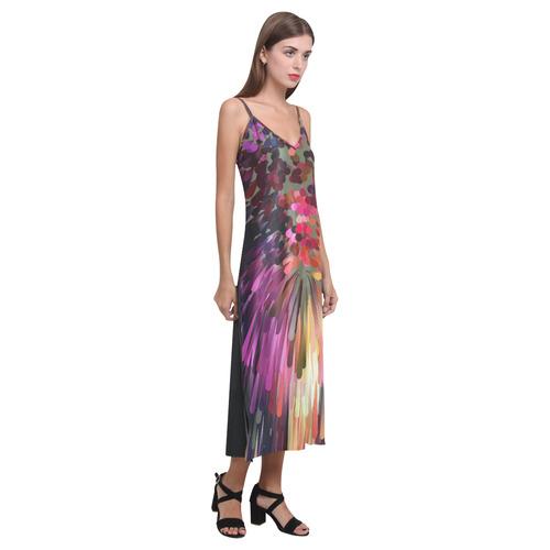 Splash Boom Bang by Artdream V-Neck Open Fork Long Dress(Model D18)