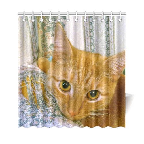 "Orange Tabby Cat Shredded Sofa Shower Curtain 69""x72"""