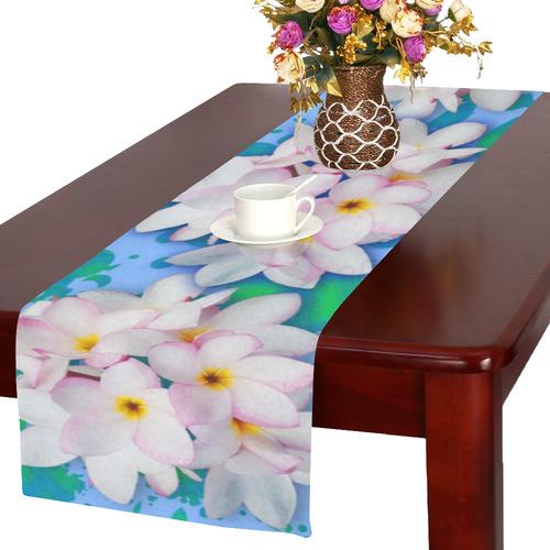 Plumeria Bouquet Exotic Summer Pattern Table Runner 16x72 inch