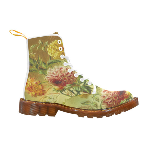 Lovely Vintage Flowers Dahlia And Jasmine Martin Boots For Women Model 1203H